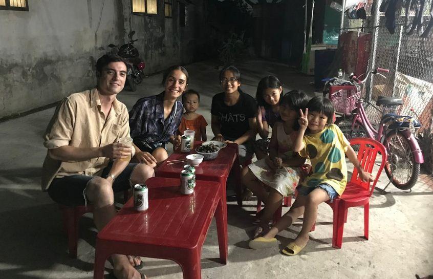 ninh binh motorbike family dinner